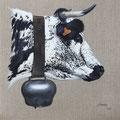Darling - Acrylique sur toile de lin écru - 50 x 50 cm - 2016<br><br>Peinture vache . vache vosgienne . toile . peinture animalière . peintre animalier . race vosgienne