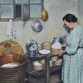 Chambre à fromages - Acrylique sur toile - 61 x 46 cm - 2013<br><br>Peinture . artiste peintre . peinture paysanne . femme . portrait . paysanne . munster