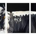 La ligne blanche des Vosges - Triptyque - Acrylique sur toiles - 3 X 30 x 40 cm - 2016<br><br>Peinture vache . vache vosgienne . toile . peinture animalière . peintre animalier . race vosgienne