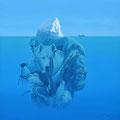 Dérive - Acrylique sur toile - 80 x 80 cm - 2015<br><br>Peinture . peintre animalier . artiste peintre . peinture animalière . animal . océan . glacier . animaux pôles
