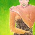 Métamorphose - Acrylique sur papier - 20 x 30 cm - Visuel affiche Festival International de Sculpture Camille Claudel - 2004<br><br>Peinture . artiste peintre . portrait femme . métamorphose femme