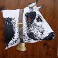 Gentiane - Acrylique sur bois - 60 x 60 cm environ - 2008<br><br>Peinture vache . dessin vache . vache vosgienne . toile . peinture animalière . peintre animalier . race vosgienne