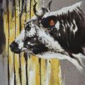Abeille - Acrylique sur toile de lin écru - 50 x 70 cm - 2015<br><br>Peinture vache . vache vosgienne . toile . peinture animalière . peintre animalier . race vosgienne