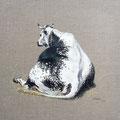 Ligne de dos - Acrylique sur toile de lin écru - 40 x 40 cm - 2016<br><br>Peinture vache . vache vosgienne . toile . peinture animalière . peintre animalier . race vosgienne