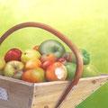 Les tentations d'Adam - Acrylique sur toile - 55 x 46 cm - 2007<br><br>Peinture . artiste peintre . pomme . fruit . nature morte . trompe l'oeil
