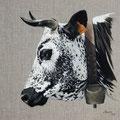Altesse - Acrylique sur toile de lin écru - 50 x 50 cm - 2016<br><br>Peinture vache . vache vosgienne . toile . peinture animalière . peintre animalier . race vosgienne