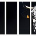 Ebène - Poliptyque - Acrylique sur toile - 4 X 20 x 60 cm - 2016 <br><br>Peinture vache . vache vosgienne . toile . peinture animalière . peintre animalier . race vosgienne