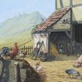 Les 3 Châteaux - Acrylique sur toile - 89 x 116 cm - 2017 <br><br>Peinture . peintre animalier . artiste peintre . ferme alsace . peinture paysanne . basse cour