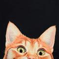 Chat - Acrylique sur toile - 1 m x 1 m - 2017<br><br>Peinture . peintre animalier . artiste peintre . peinture animalière . animal . félin