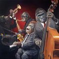 Monkeys Jazz Band Quartet - Acrylique sur toile - 1,20 m x 1,20 m - 2015<br><br>Peinture . artiste peintre . peinture animalière . animal . singe . primate . chimpanzé . orang outan . gorille . bonobo . piano . contrebasse . saxophone . trompette