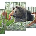 Arche - Triptyque - Acrylique sur toile - Environ 1,30 m x 0,90 m - 2016<br><br>Peinture . peintre animalier . artiste peintre . peinture animalière . animal . ours . écureuil . loutre . renard