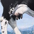 Mamelles - Acrylique sur toile - 66 x 45 cm - 1996<br><br>Peinture vache . dessin vache . vache vosgienne . toile . peinture animalière . peintre animalier . race vosgienne