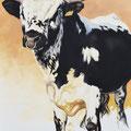 Hercule - Acrylique sur toile - 60 x 90 cm - 1999<br><br>Peinture vache . dessin vache . vache vosgienne . toile . peinture animalière . peintre animalier . race vosgienne