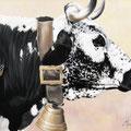 Un papillon sur l'épaule - Acrylique sur toile - 65 x 50 cm - 2000<br><br>Peinture vache . dessin vache . vache vosgienne . toile . peinture animalière . peintre animalier . race vosgienne