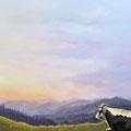 Le bonheur est sur les chaumes - Acrylique sur toile - 70 x 50 cm - 2016<br><br>Peinture vache . vache vosgienne . toile . peinture animalière . peintre animalier . race vosgienne . paysage . hautes vosges