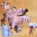 La Mère nourricière de la Terre - Acrylique sur toile - 2 x 1,80 m - 2001<br><br>Peinture . peintre animalier . artiste peintre . peinture animalière . animal . humour . vache . lait