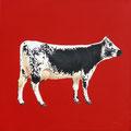 Grenadine - Acrylique sur toile - 60 x 60 cm - 2014<br><br>Peinture vache . vache vosgienne . toile . peinture animalière . peintre animalier . race vosgienne