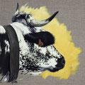 Vénus - Acrylique sur toile de lin écru - 40 x 30 cm - 2016<br><br>Peinture vache . vache vosgienne . toile . peinture animalière . peintre animalier . race vosgienne