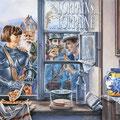La Quiche Lorraine - Acrylique sur toile - 1,10 x 0,80 m - Médaille d'Or 5 ème Biennale de Peinture des Conseils Généraux de Lorraine - Lunéville 1992 - Editions Théo 7 Editions Veselize (54)