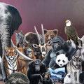 La Liste Rouge - Acrylique sur toile - 2,00 x 1,80 m - 1994 - Prix du public Festival International d'Art Animalier Eygurande (Corrèze)<br><br>Peinture . peintre animalier . artiste peintre . peinture animalière . animal .  animaux en voie de disparition