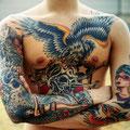 Tatouage aigle tête de mort et indienne