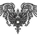 Dessin tatouage coeur et ailes