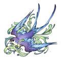 Dessin tatouage oiseau bleu
