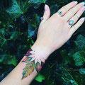 Tatouage feuilles poignet femme