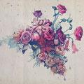 Dessin tatouage fleurs rouges