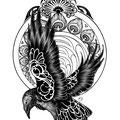 Dessin tatouage corbeau art nouveau