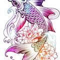 Dessin tatouage carpe koi couleurs