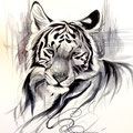 Dessin tatouage tigre blanc