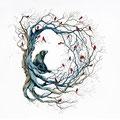 Dessin tatouage ours arbre oiseaux rouges