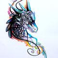 Dessin tatouage dragon couleurs