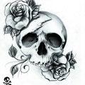 Dessin tatouage tête de mort et roses