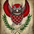 Dessin tatouage chouette rouge
