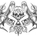 Dessin tatouage tête de mort et femmes