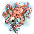 Dessin tatouage octopus et crâne