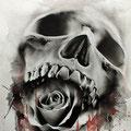 Dessin tatouage tête de mort et rose noire