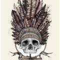 Dessin tatouage crâne indien