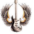 Dessin tatouage guitare avec ailes
