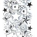 Dessin tatouage bonbons cartes à jouer étoiles