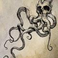 Dessin tatouage tête de mort et pieuvre