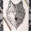 Dessin tatouage loup