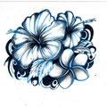 Dessin tatouage fleurs bleues