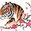 Dessin tatouage tigre et fleurs roses