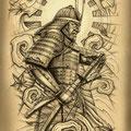 Dessin tatouage samourai