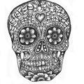 Dessin tatouage tête de mort mexicaine