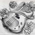 Dessin tatouage guitare et roses