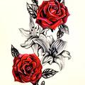 Dessin tatouage lis et roses